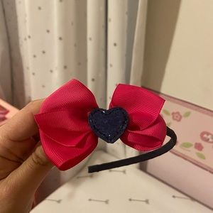 Girls Gymboree headband with bow & glittery heart